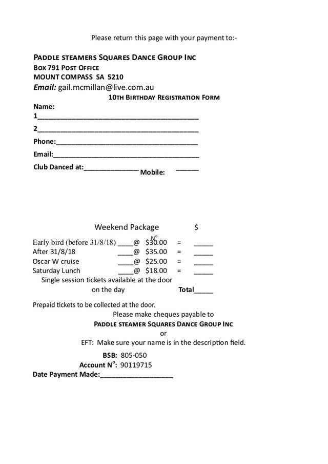 Paddle Steamers 10th Birthday Registration form