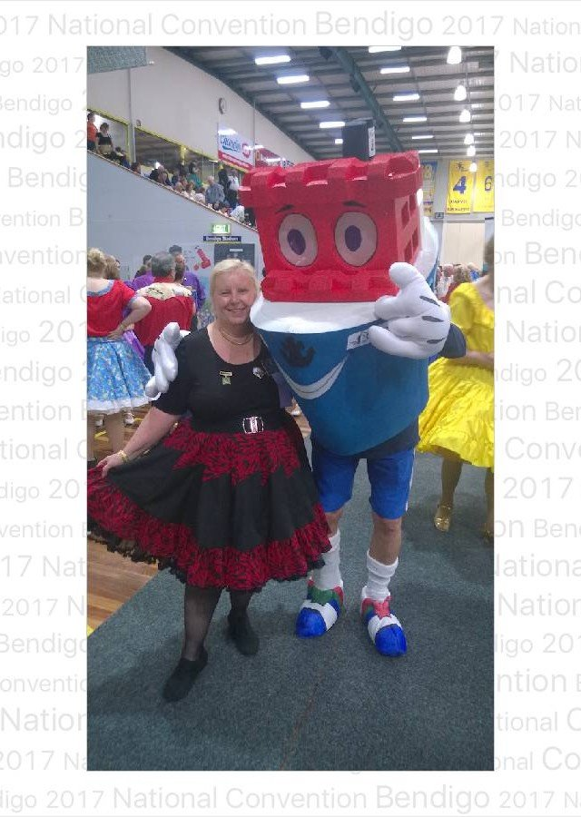 Anne Tulloch with the 2018 Convention Mascot